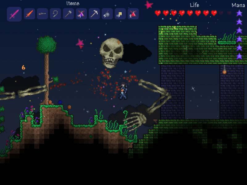 Spelarar i kamp med ein av dei mange bossane i spelet.